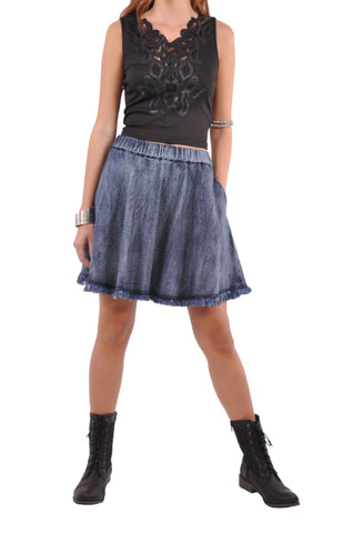 Cute Flare Blue Denim Skirt # SH-0585