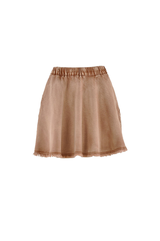 Cute Flare Brown Denim Skirt # SH-0586