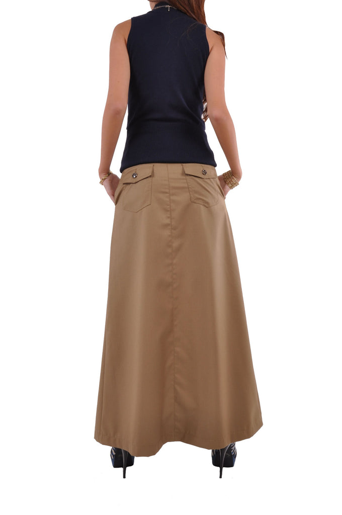 Just Chic Khaki Long Skirt # TA-0494