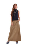 Just Chic Khaki Long Skirt - Plus Size # TAP-0494