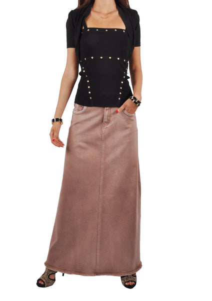 Fringed Fashionista Long Khaki Skirt # TA-0567