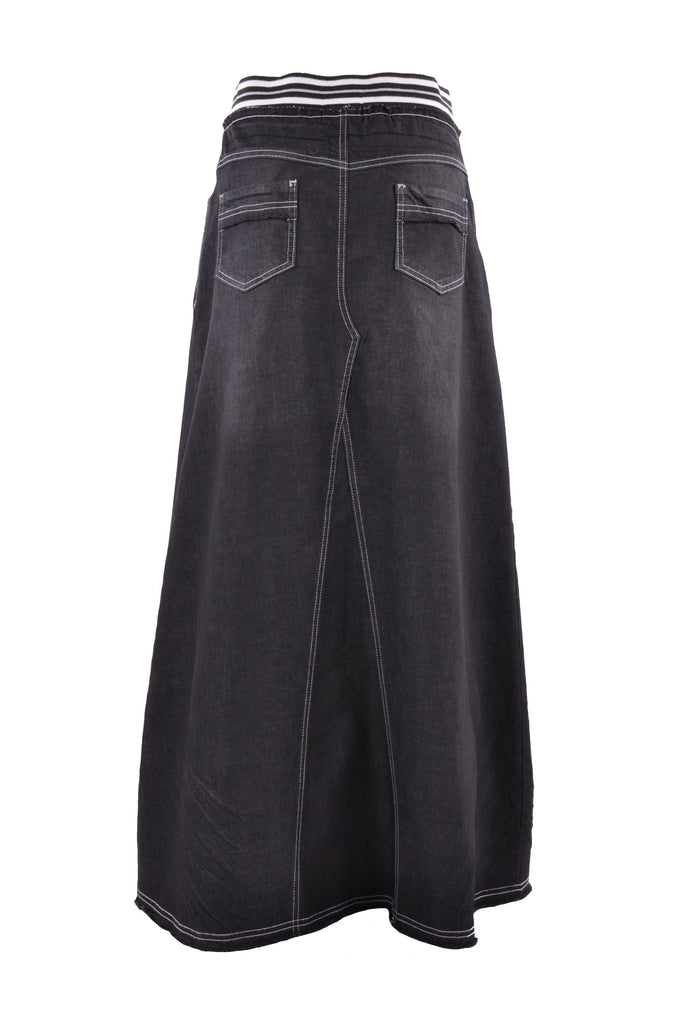 Exquisite Elastic Long Denim Skirt - Plus Size # TAP-0608