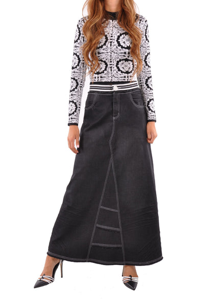Exquisite Elastic Long Denim Skirt # TA-0608