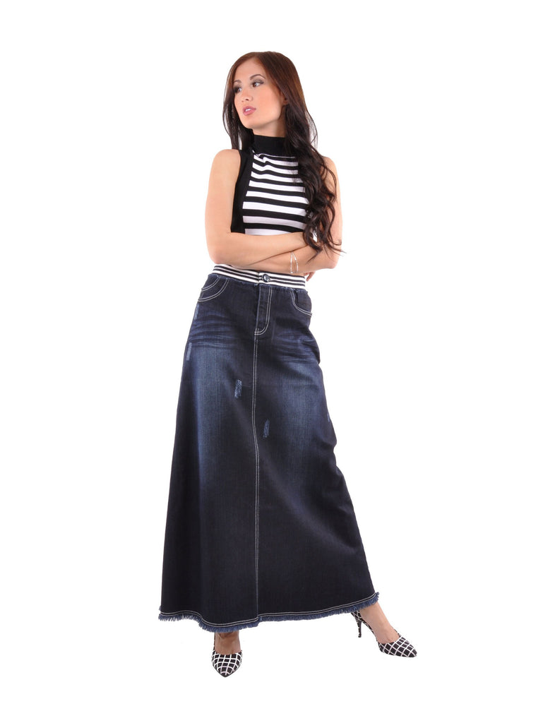 Dark Chic Long Jean Skirt # TA-0610