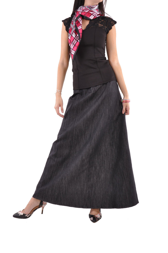 Shimmer Black Long Denim Skirt # TA-0620