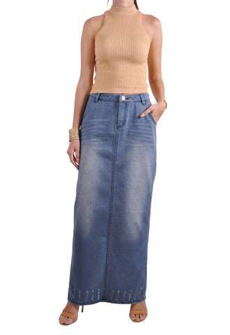 Urban Pencil Long Denim Skirt # TA-0626