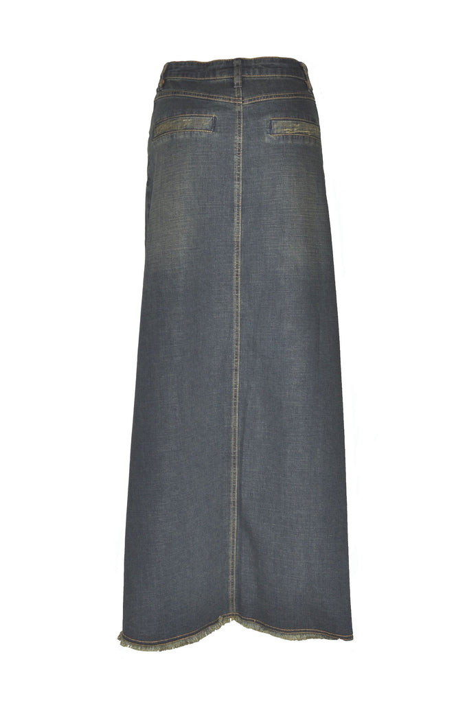 Vintage Chic Long Denim Skirt - Plus Size # TAP-0627