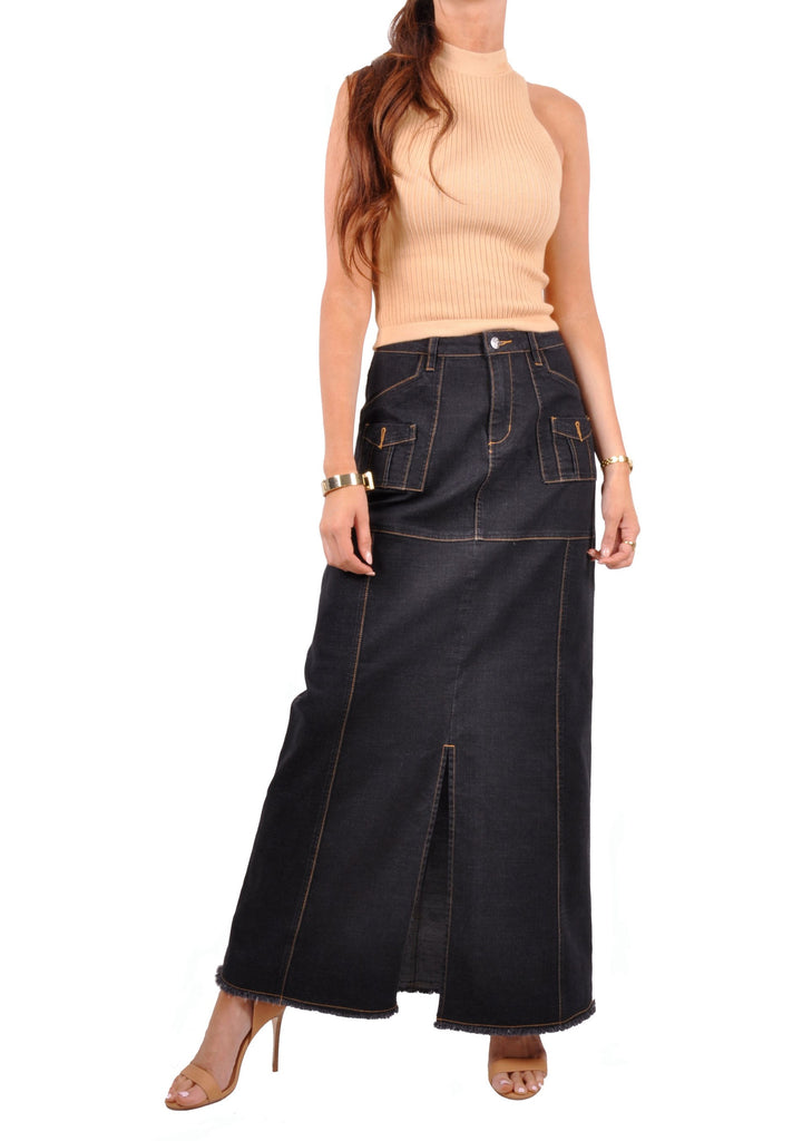 Outline Black Denim Skirt # TA-0629