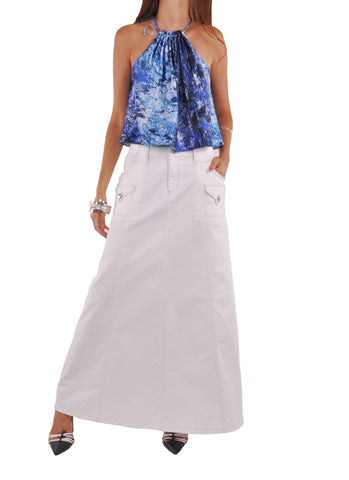 Casual White Long Denim Skirt # TA-0630