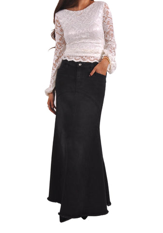 Midnight Mermaid Long Denim Skirt # TA-0631