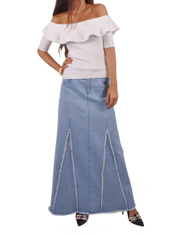 Sassy Fringed Long Denim Skirt # TA-0636
