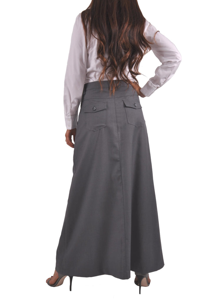 Just Chic Gray Long Skirt # TA-0638