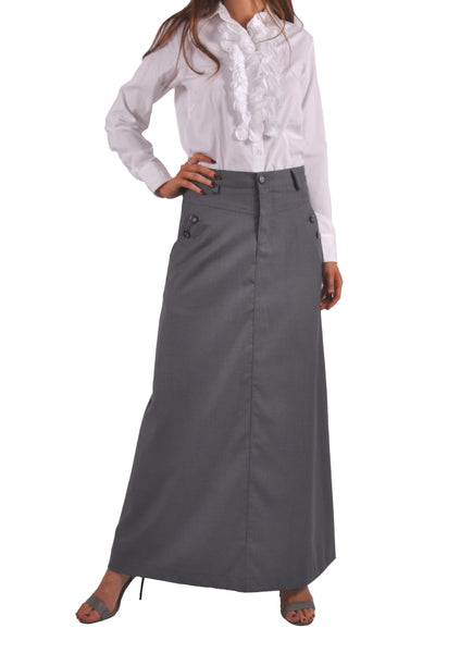 Just Chic Gray Long Skirt # TAP-0638