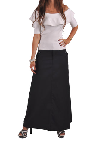 Just Chic Navy Blue Long Skirt # TAP-0639