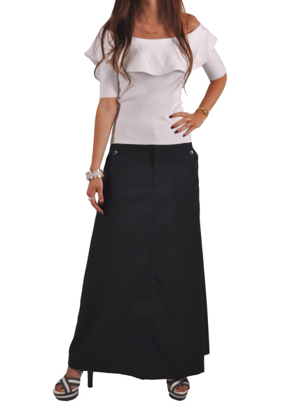 Just Chic Navy Blue Long Skirt # TA-0639