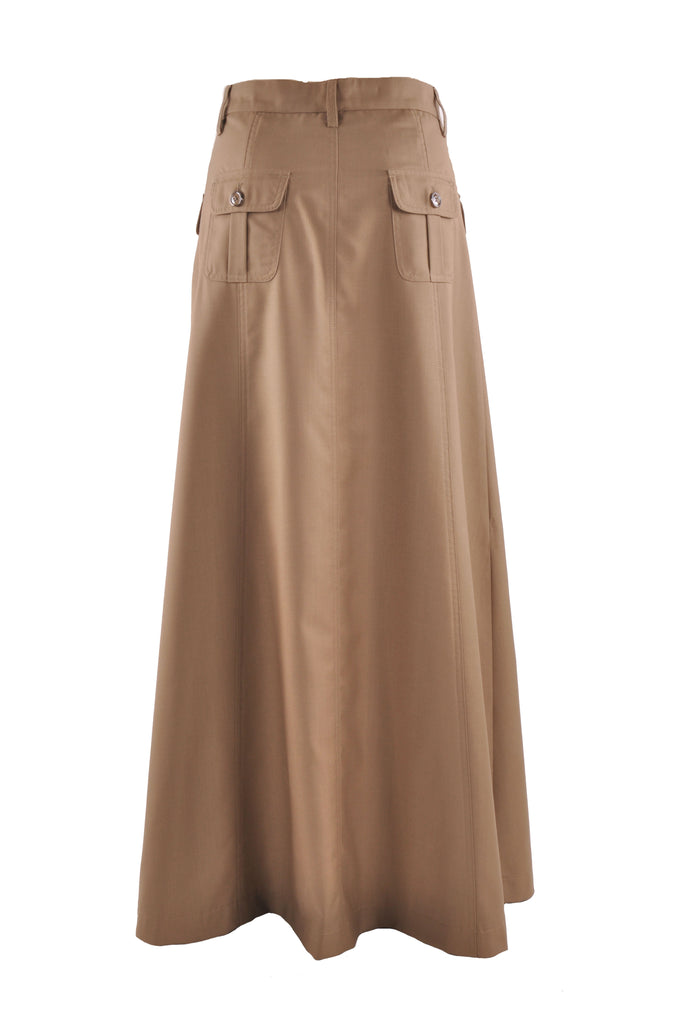 Comfy Khaki Long Skirt # TA-0641