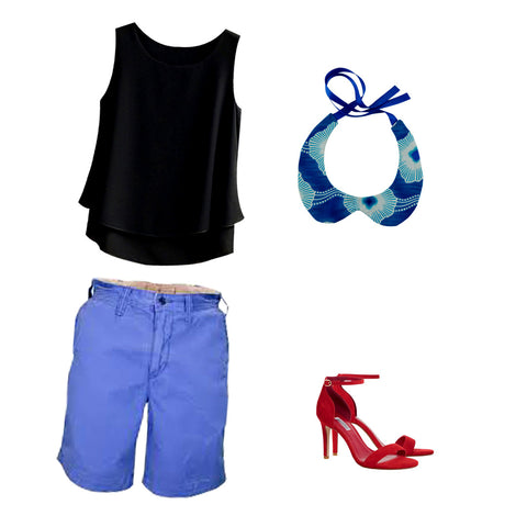 A casual outfit that includes a sky blue shorts with a pair of heeled sandals, a black blouse top, and a Coo-Mon's Peter Pan Collar