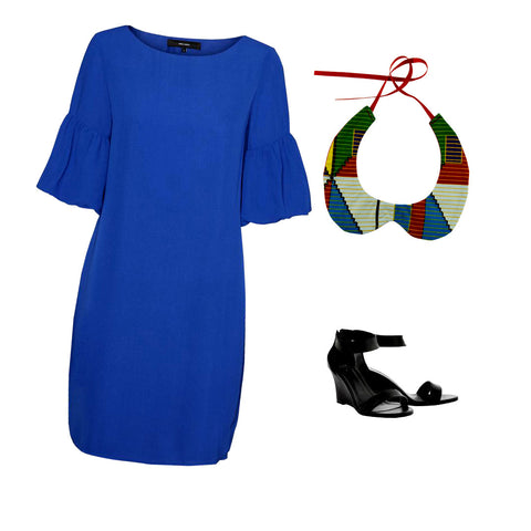 An outfit suggestion consisting of a pretty blue bell sleeve dress, a pair of wedge sandals and a Coo-Mon's Peter Pan collar