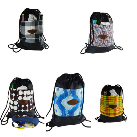 A selection of drawstring bags for school