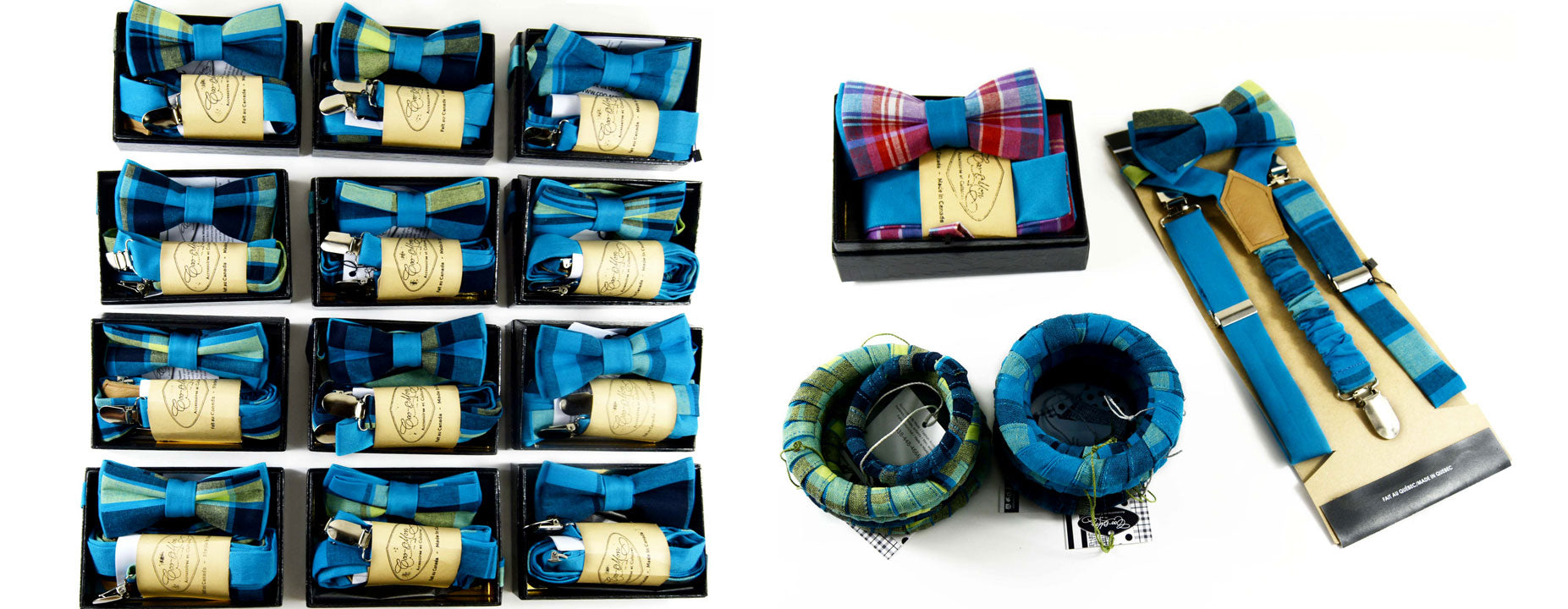 12 bow ties with a beautiful pattern made in the blue Madras of Coo-Mon Wedding Accessories made in the beautiful blue Madras of Coo-Mon.