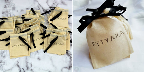 jewelry drawstring bags with black ribbon made by Coo-Mon