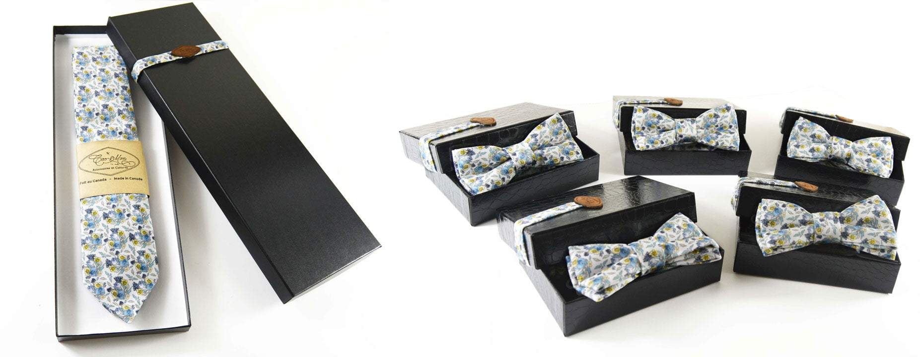 The groom and his groomsmen highlighted through custom wedding accessories from Coo-Mon