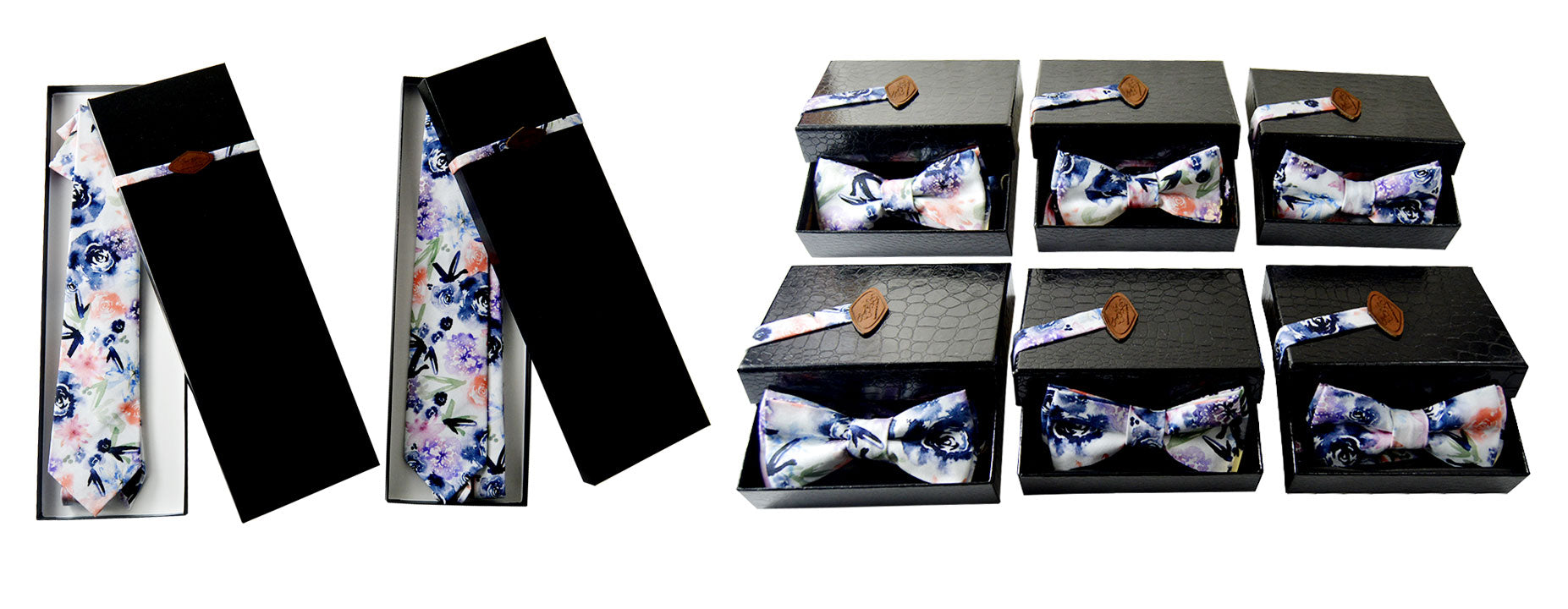 Personalized tie and bow ties, made of satin cotton fabric, for a custom wedding.