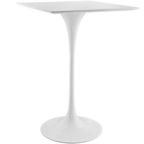 "Saarinen Tulip Style 28"" Square Wood Top Bar Table in White"