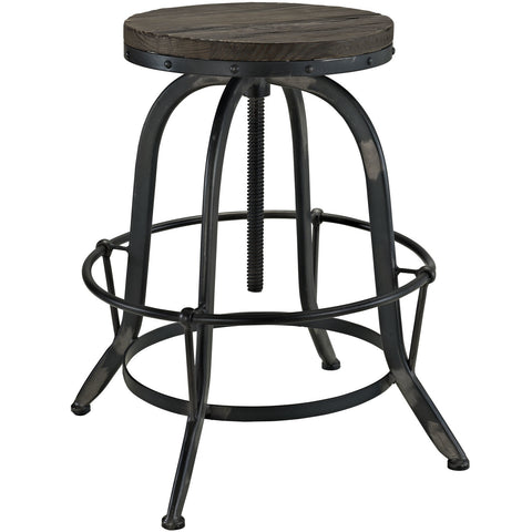 Collect Wood Top Bar Stool in Black