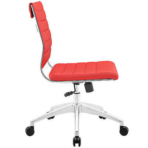 Adjustable Modern Chromed Armless Mid Back Office Chair in Red