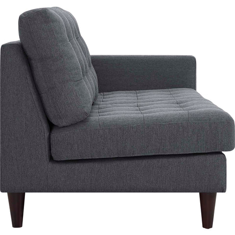 Empress Right-Facing Upholstered Fabric Loveseat in Gray