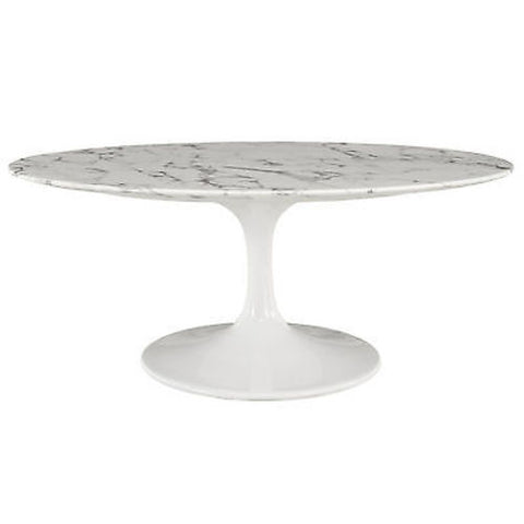 "Saarinen Tulip Style 42"" Oval-Shaped Cultured Marble Coffee Table in White"