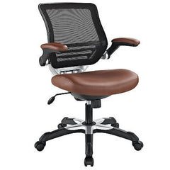 Edge Mesh Back Leatherette Office Chair in Tan