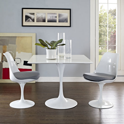 "Saarinen Tulip Style 36"" Square Dining Table in White"