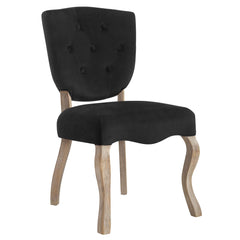 Array Vintage French Velvet Dining Side Chair in Black