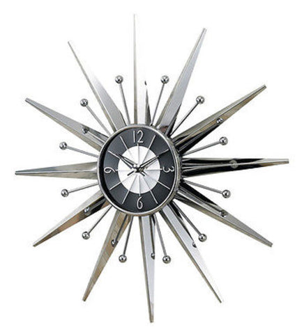 George Nelson Midcentury Modern Style Metal Sunray Clock - Mid Mod Finds