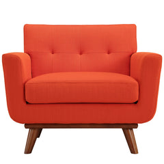 Engage Upholstered Armchair in Atomic Red - Mid Mod Finds