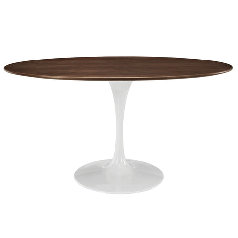 Saarinen Tulip Style 60 Oval-Shaped Dining Table in Walnut