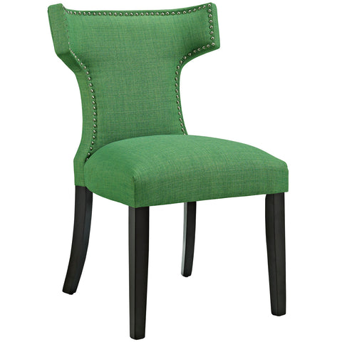 Curve Fabric Dining Chair in Kelly Green