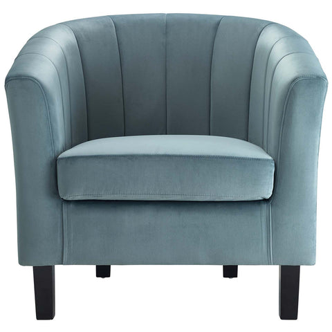 Prospect Channel Tufted Upholstered Velvet Armchair in Blue