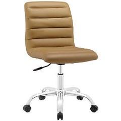 Adjustable Modern Ribbed Mid Back Office Chair in Tan