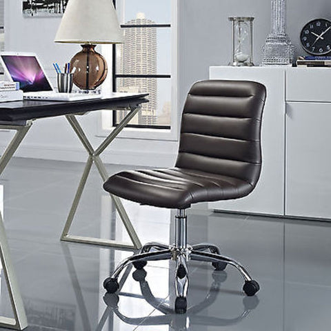 Adjustable Modern Ribbed Mid Back Office Chair in Brown