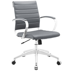 Adjustable Modern Chromed Mid Back Office Chair in Gray