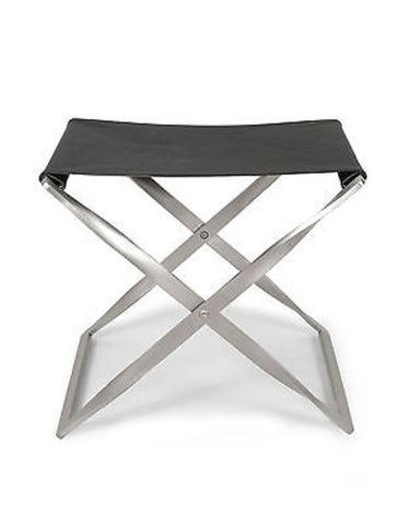 Modern Leather and Steel Footstool Ottoman in Black