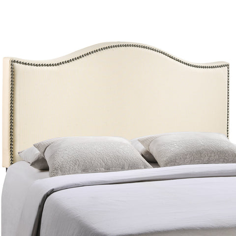 Curl Full Nailhead Upholstered Headboard in Ivory
