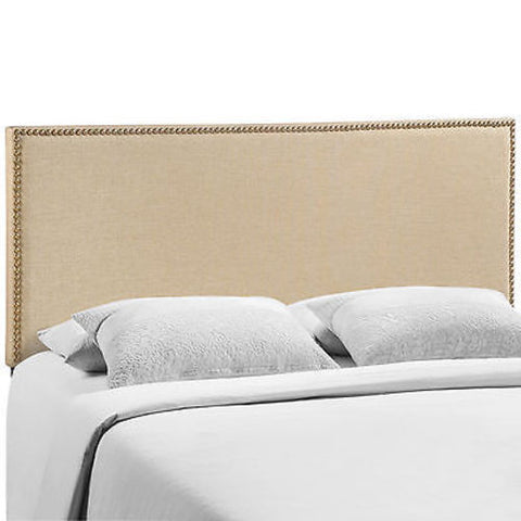Region Queen Nailhead Upholstered Headboard in Cafe