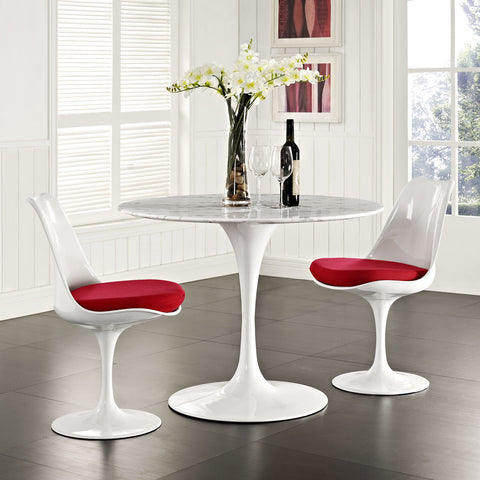 "Saarinen Tulip Style 40"" Cultured Marble Dining Table in White"