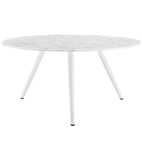 "Lippa 60"" Round Cultured Marble Dining Table with Tripod Base in White"