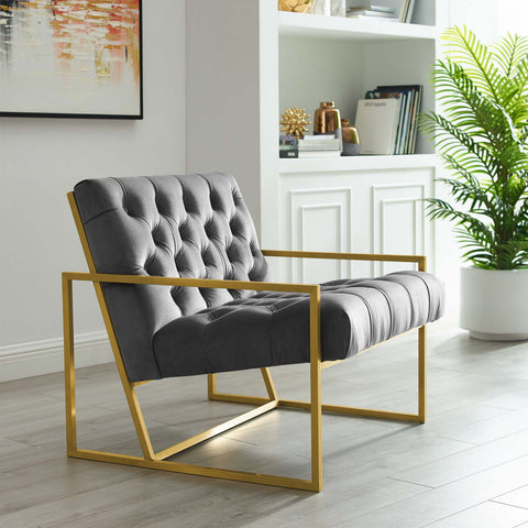 Bequest Gold Stainless Steel Upholstered Velvet Accent Chair in Gray