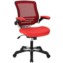Edge Mesh Back Leatherette Office Chair in Red